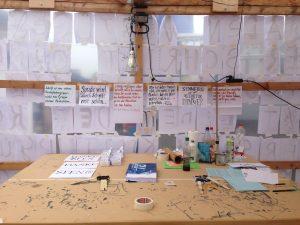 Die Arbeitsfläche nach hunderten von Buchstaben